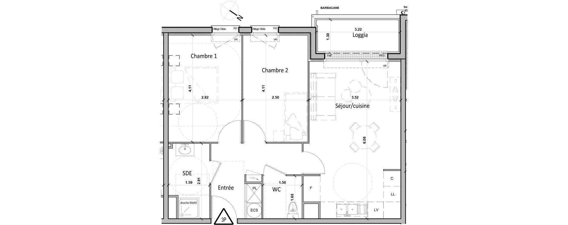 Appartement T3 de 56,30 m2 à Gisors Centre