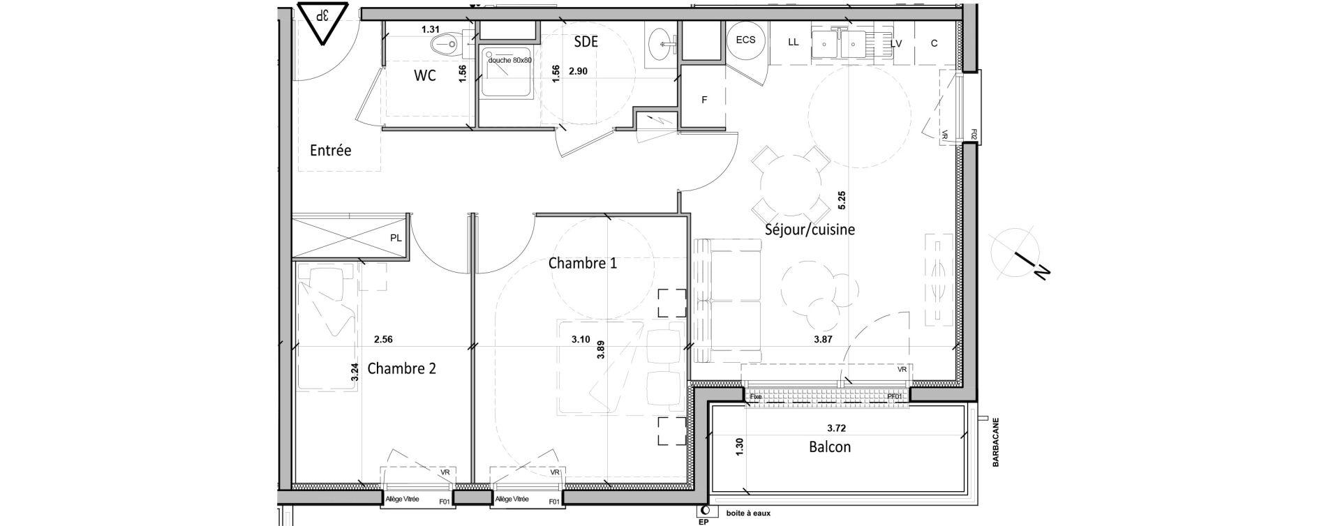 Appartement T3 de 56,60 m2 à Gisors Centre