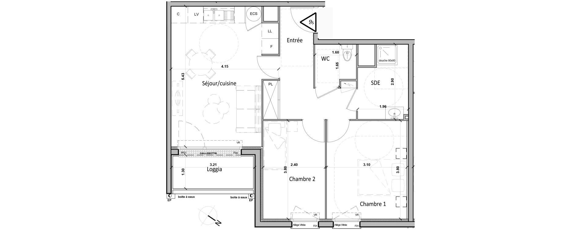 Appartement T3 de 56,20 m2 à Gisors Centre