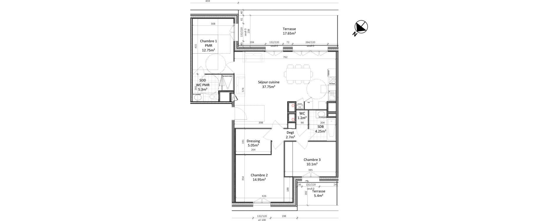 Appartement T4 de 94,05 m2 à Vernon Centre