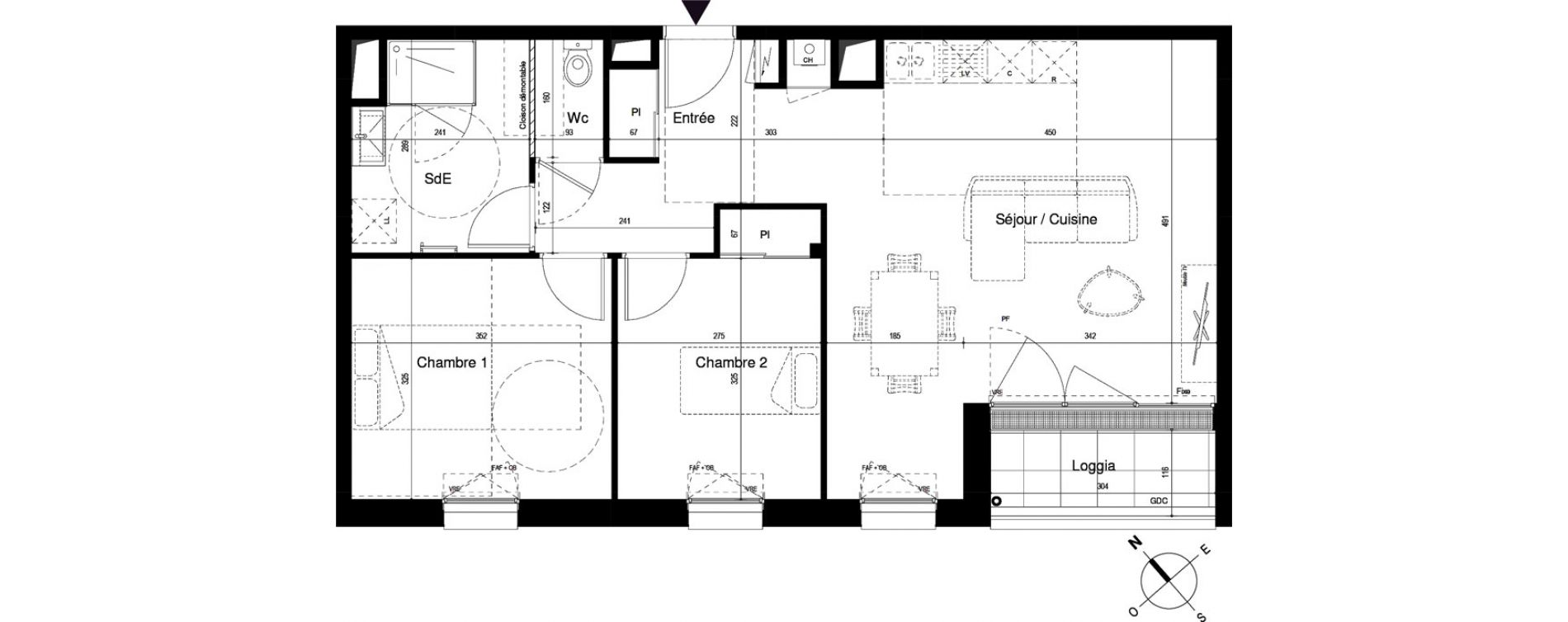 Appartement T3 de 65,17 m2 à Cherbourg-Octeville Cherbourg
