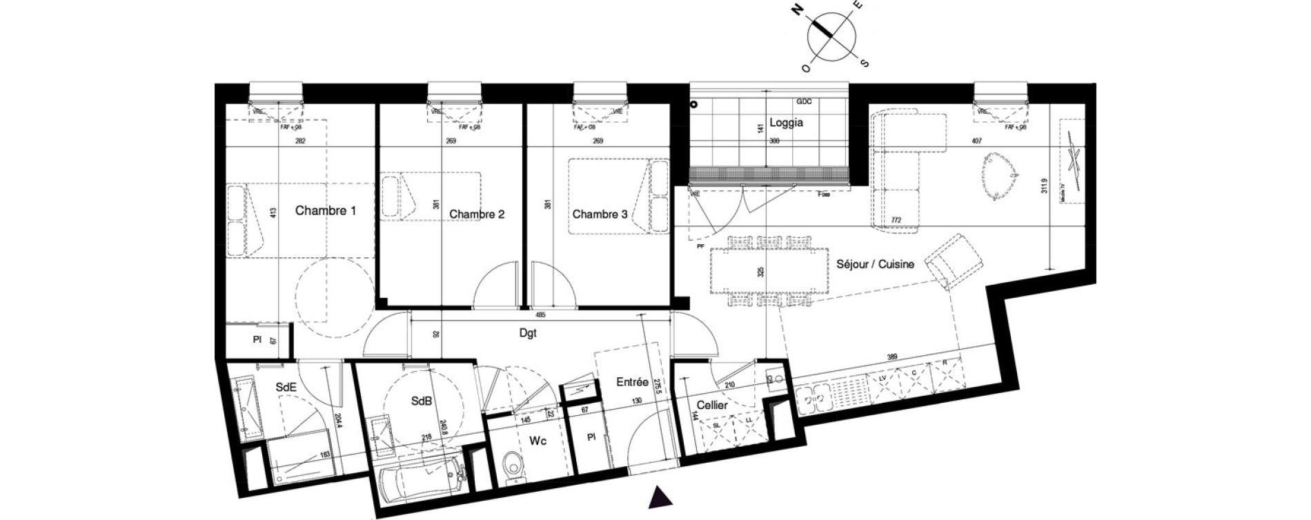 Appartement T4 de 90,71 m2 à Cherbourg-Octeville Cherbourg