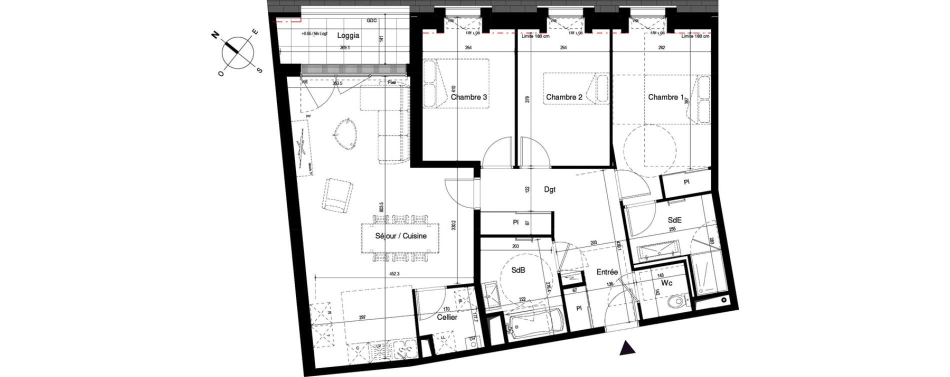 Appartement T4 de 95,19 m2 à Cherbourg-Octeville Cherbourg