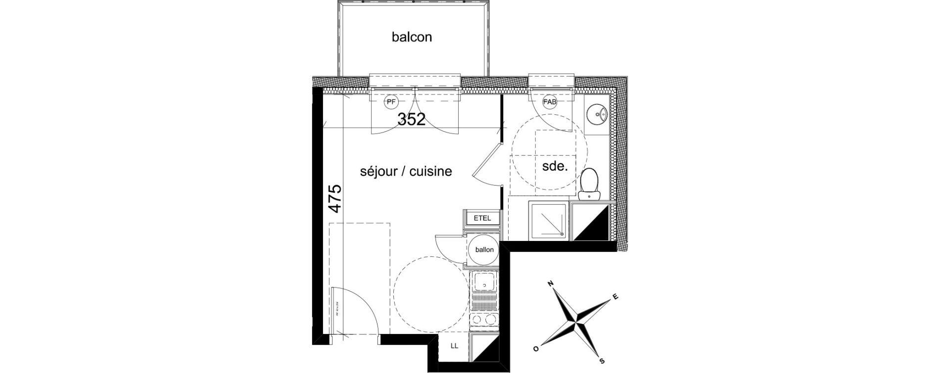 Plan Studio neuf à Darnétal de