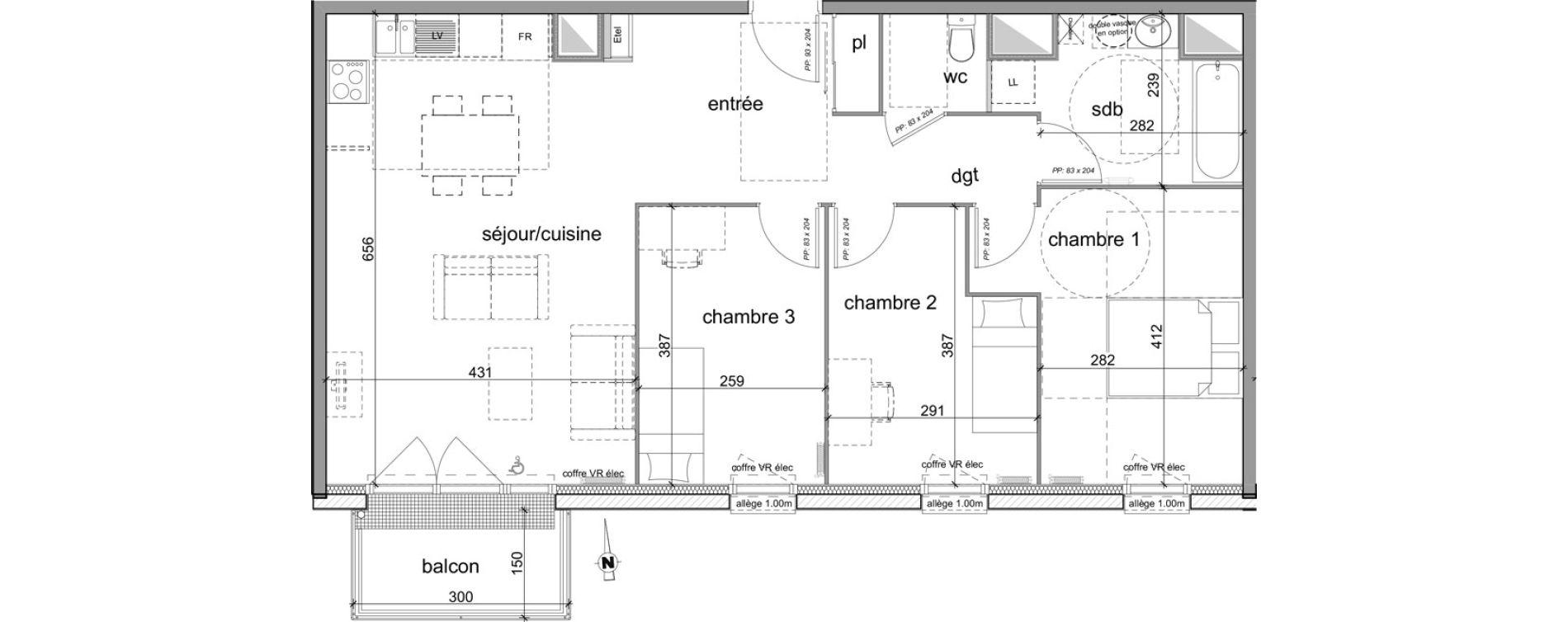Appartement T4 de 80,54 m2 à Déville-Lès-Rouen Centre