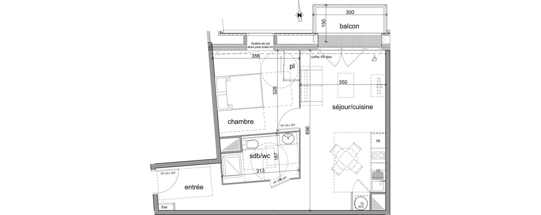 Appartement T2 de 47,45 m2 à Déville-Lès-Rouen Centre