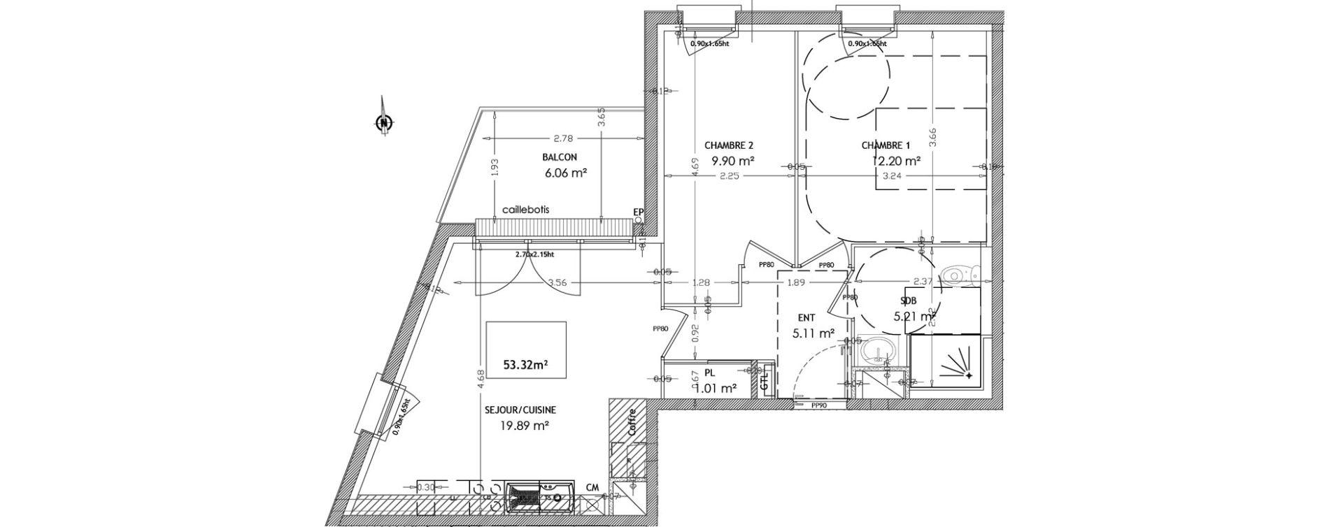 Appartement T3 de 53,32 m2 au Havre Points cardinaux