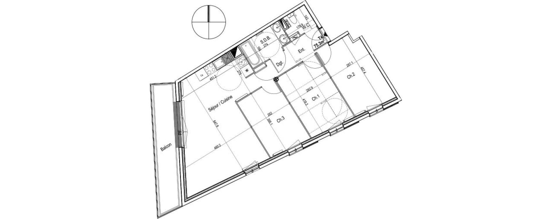 Appartement T4 de 75,30 m2 au Petit-Quevilly Centre