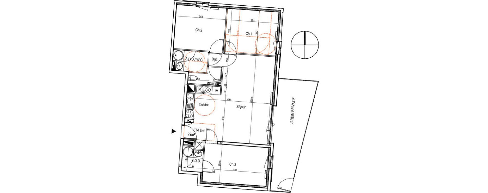 Appartement T4 de 79,00 m2 au Petit-Quevilly Centre