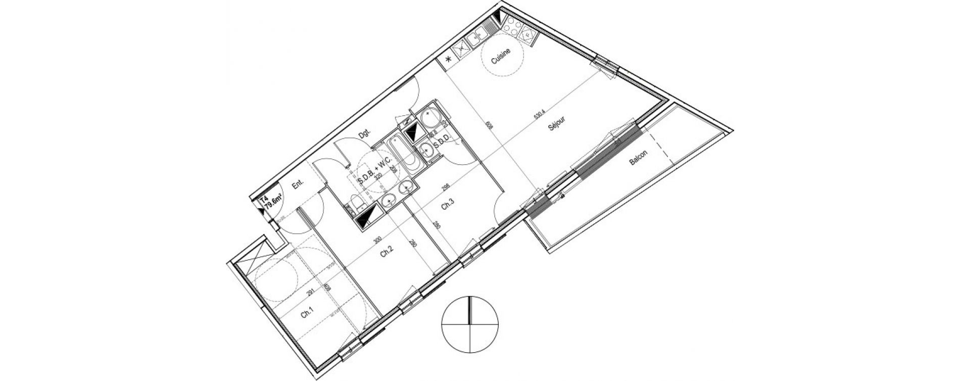 Appartement T4 de 79,50 m2 au Petit-Quevilly Centre