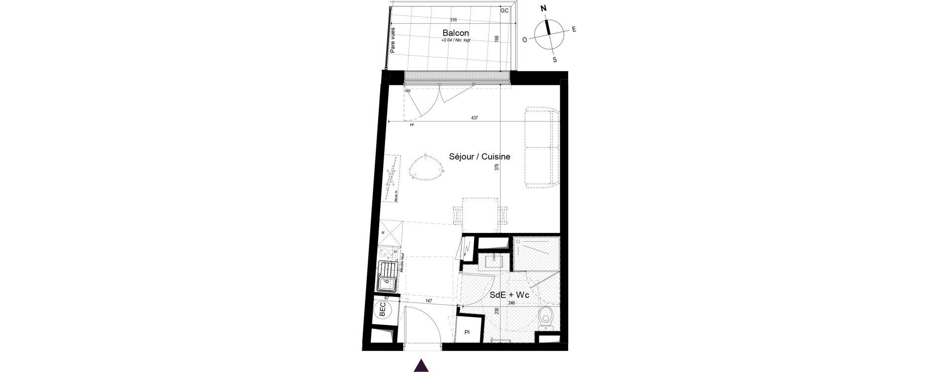 Appartement T1 de 28,74 m2 à La Rochelle Bongraine