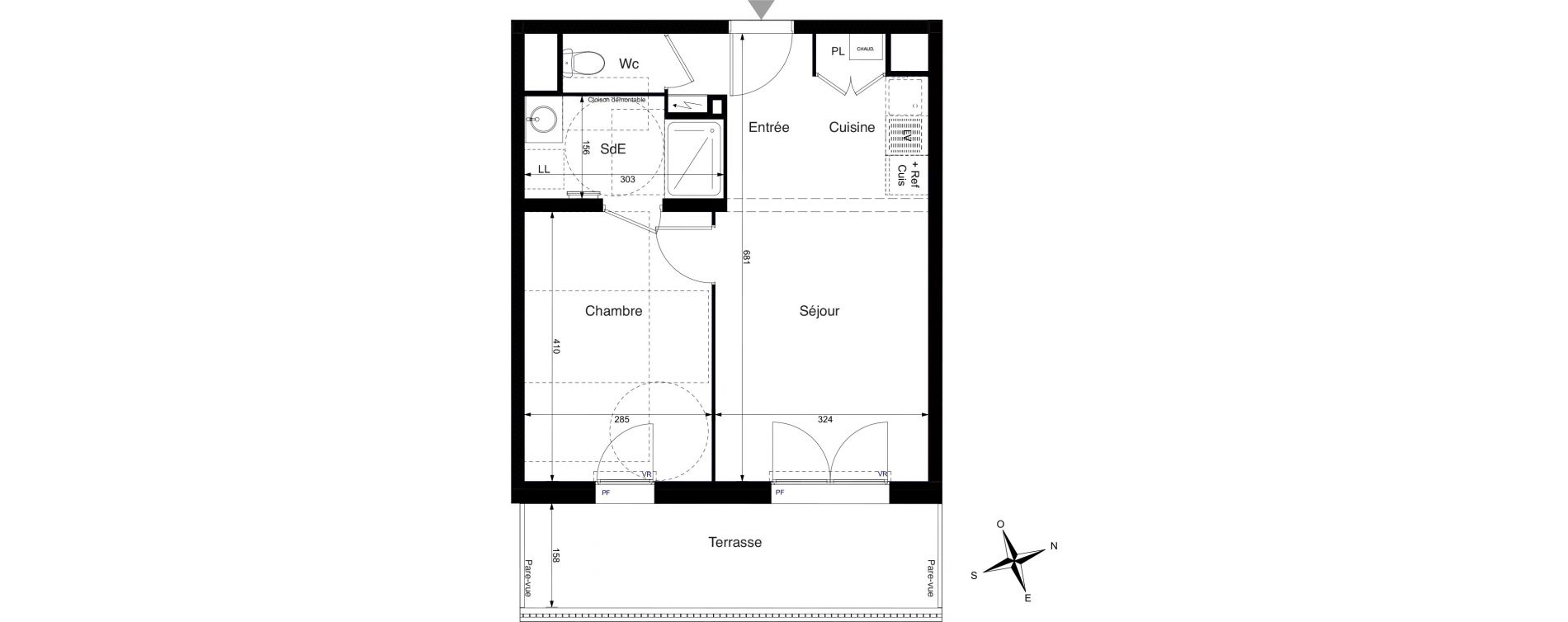 Appartement T2 de 39,63 m2 à La Rochelle Cognehors