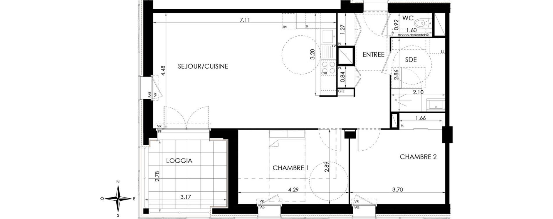 Appartement T3 de 72,07 m2 à Lagord Atlantech