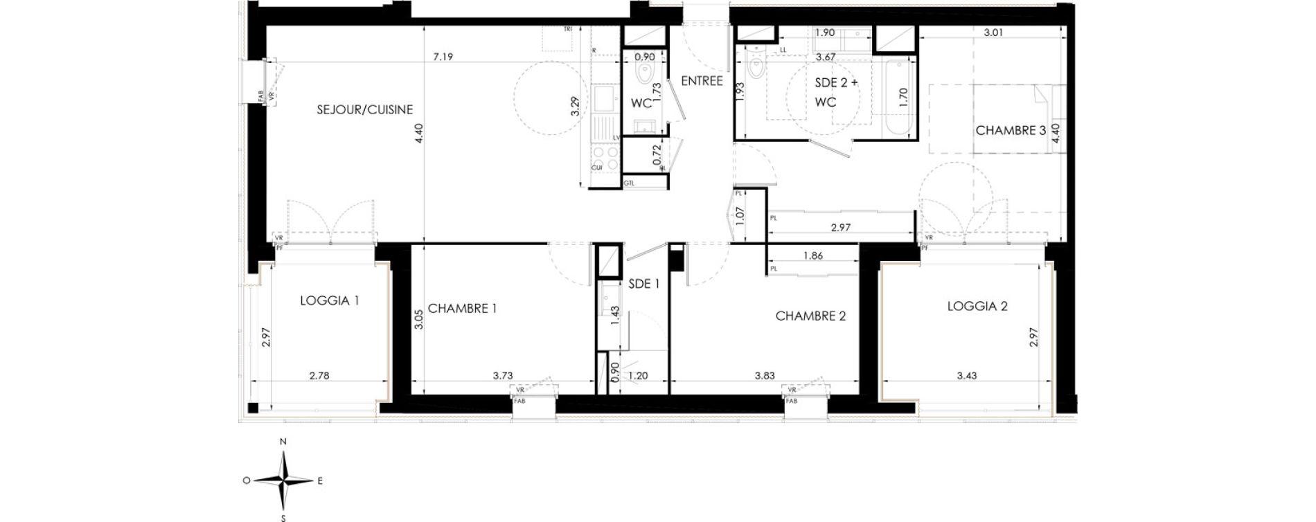 Appartement T4 de 95,39 m2 à Lagord Atlantech