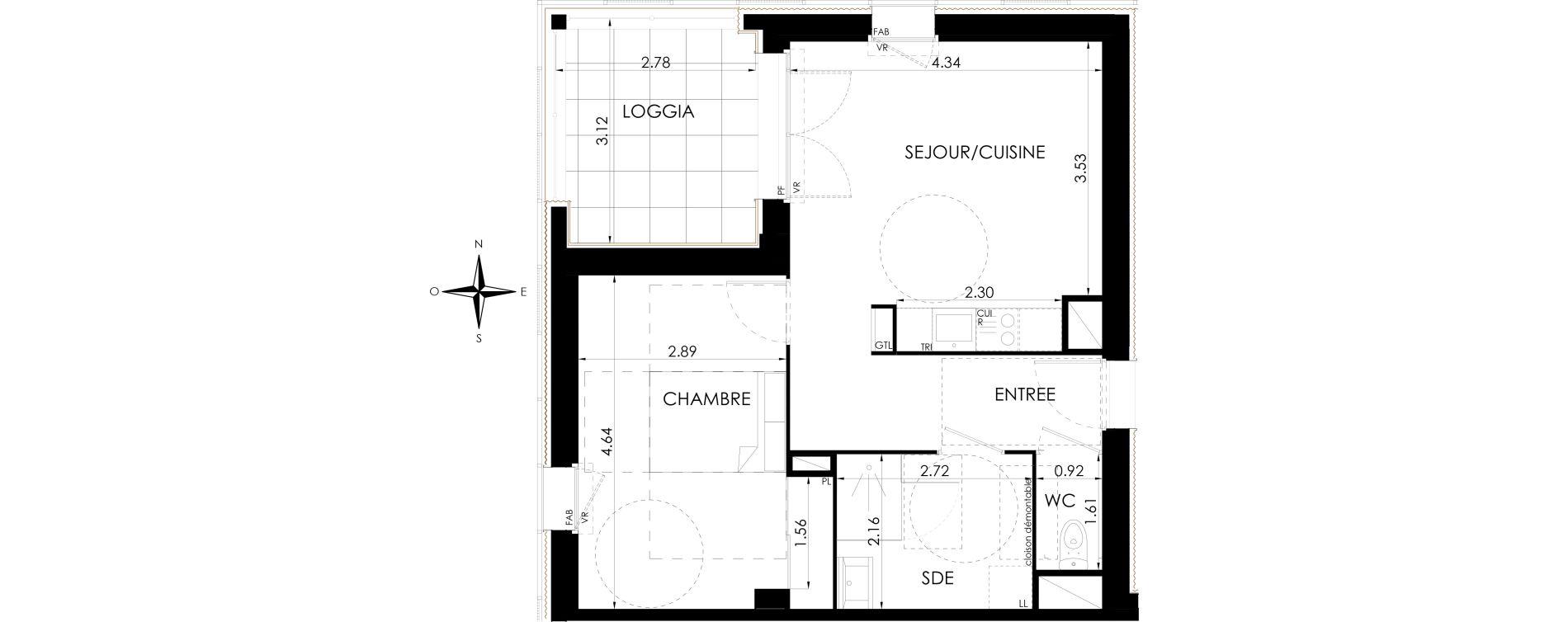 Appartement T2 de 45,82 m2 à Lagord Atlantech