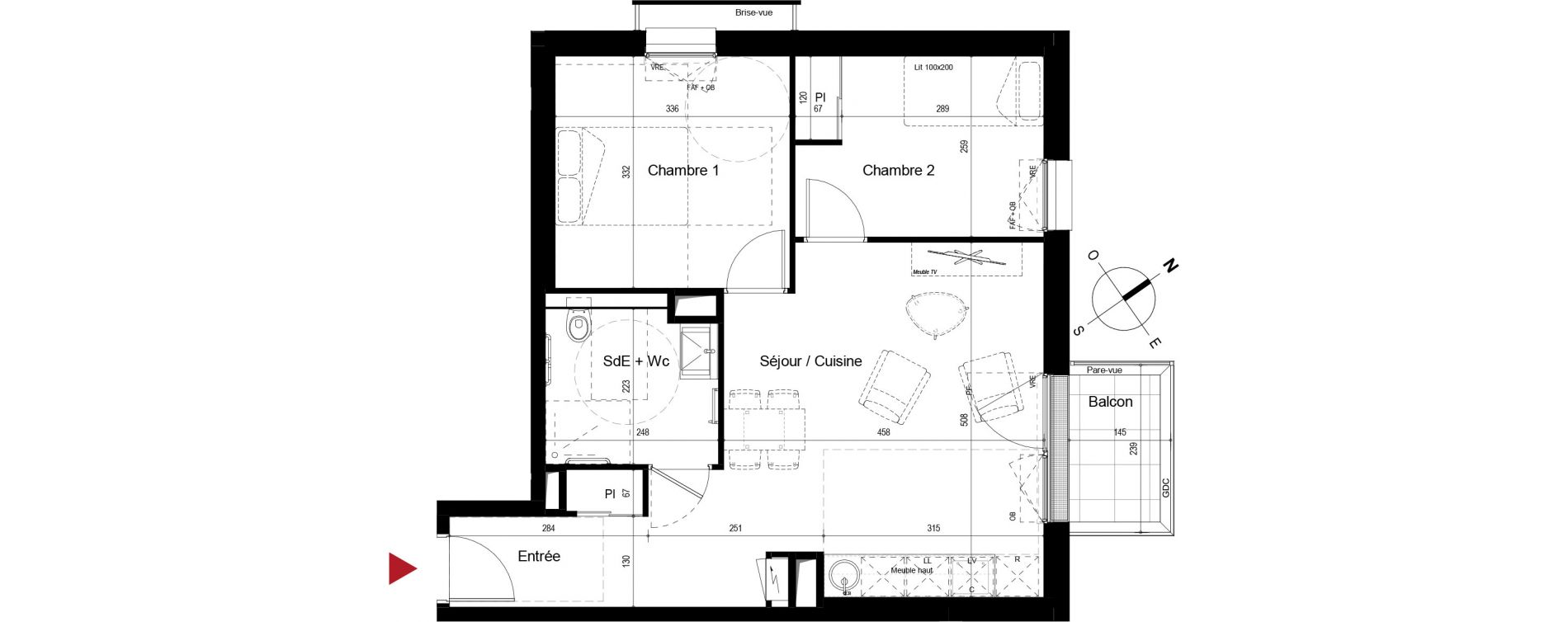 Appartement T3 meublé de 54,29 m2 à Royan Centre