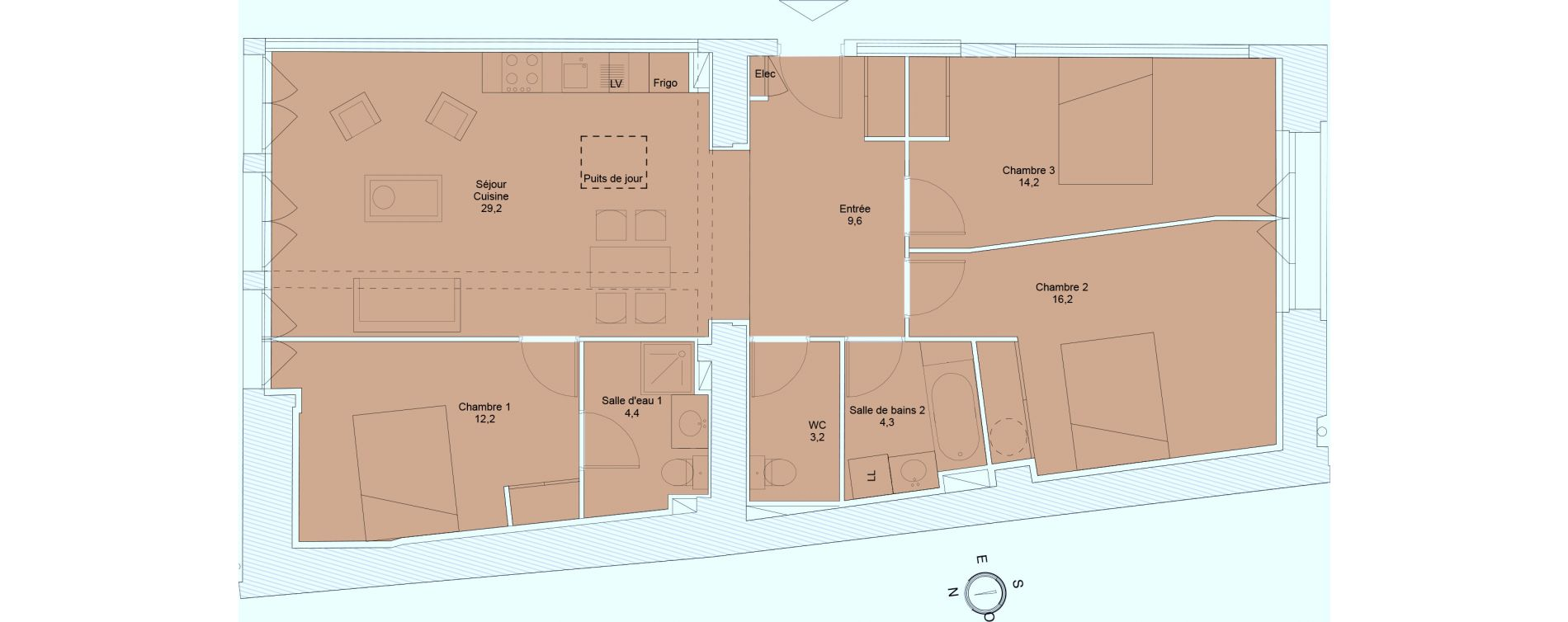 Appartement T4 de 93,30 m2 à Saintes Saintes saint-pierre