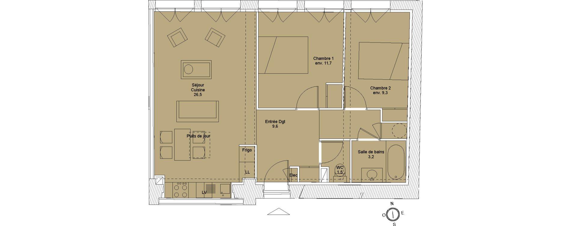 Appartement T3 de 61,50 m2 à Saintes Saintes saint-pierre