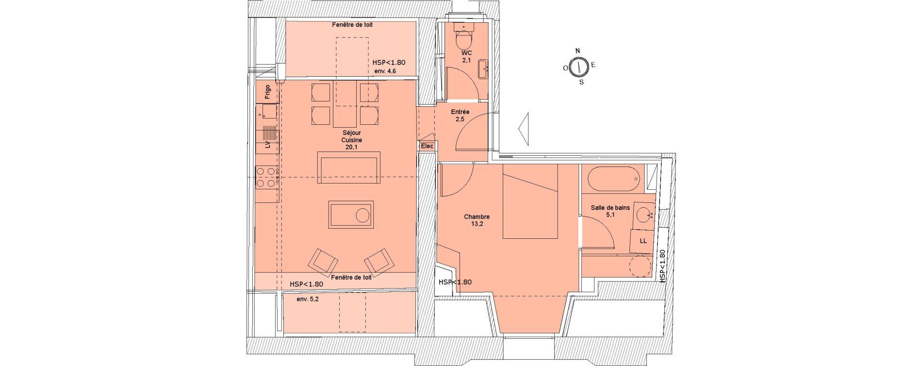 Appartement T2 de 43,00 m2 à Saintes Saintes saint-pierre