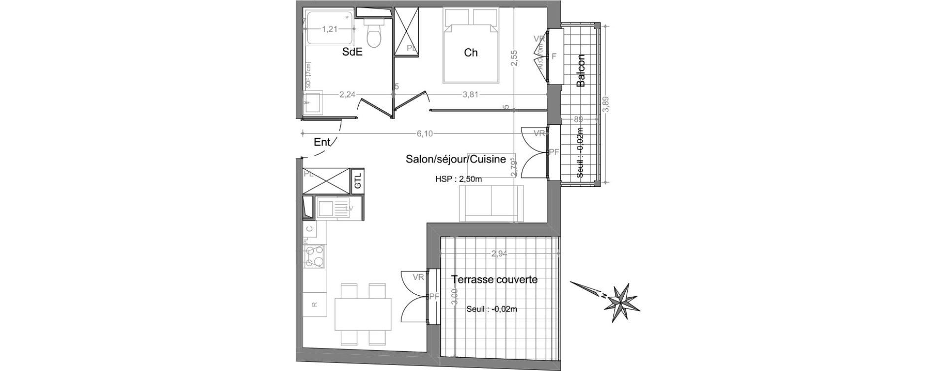 Appartement T2 de 41,49 m2 à Andernos-Les-Bains Centre