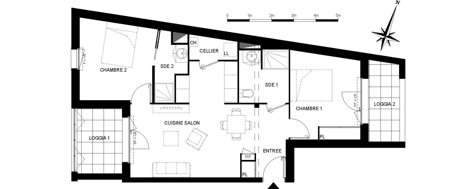 Appartement T3 de 63,67 m2 à Bègles La ferrade