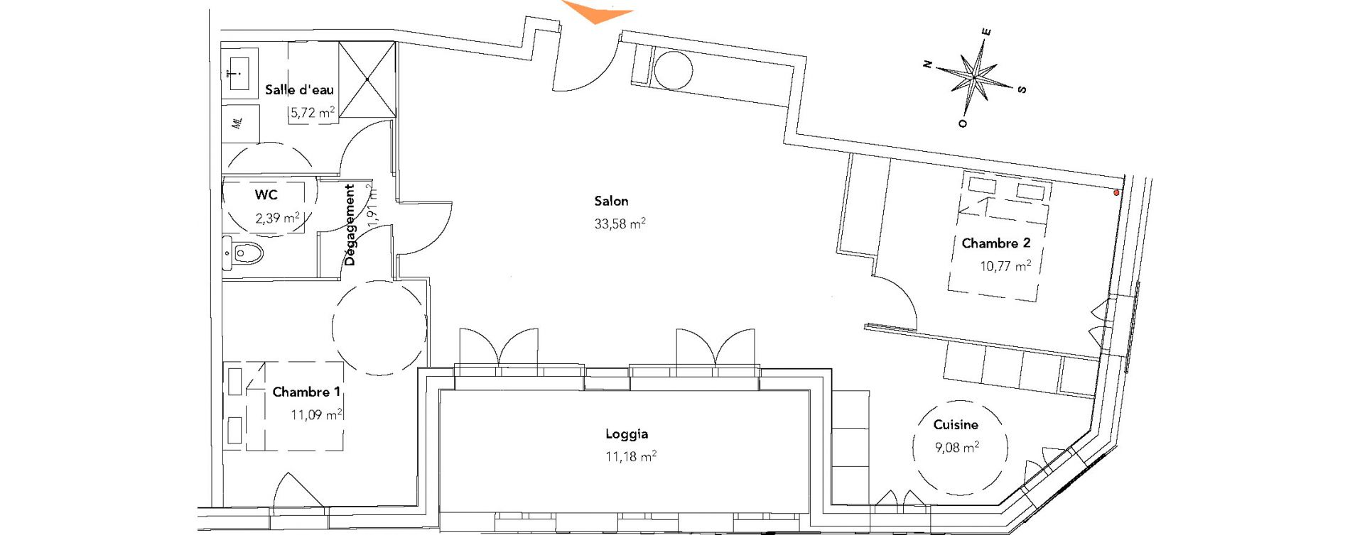 Appartement T3 de 74,54 m2 à Bègles La ferrade