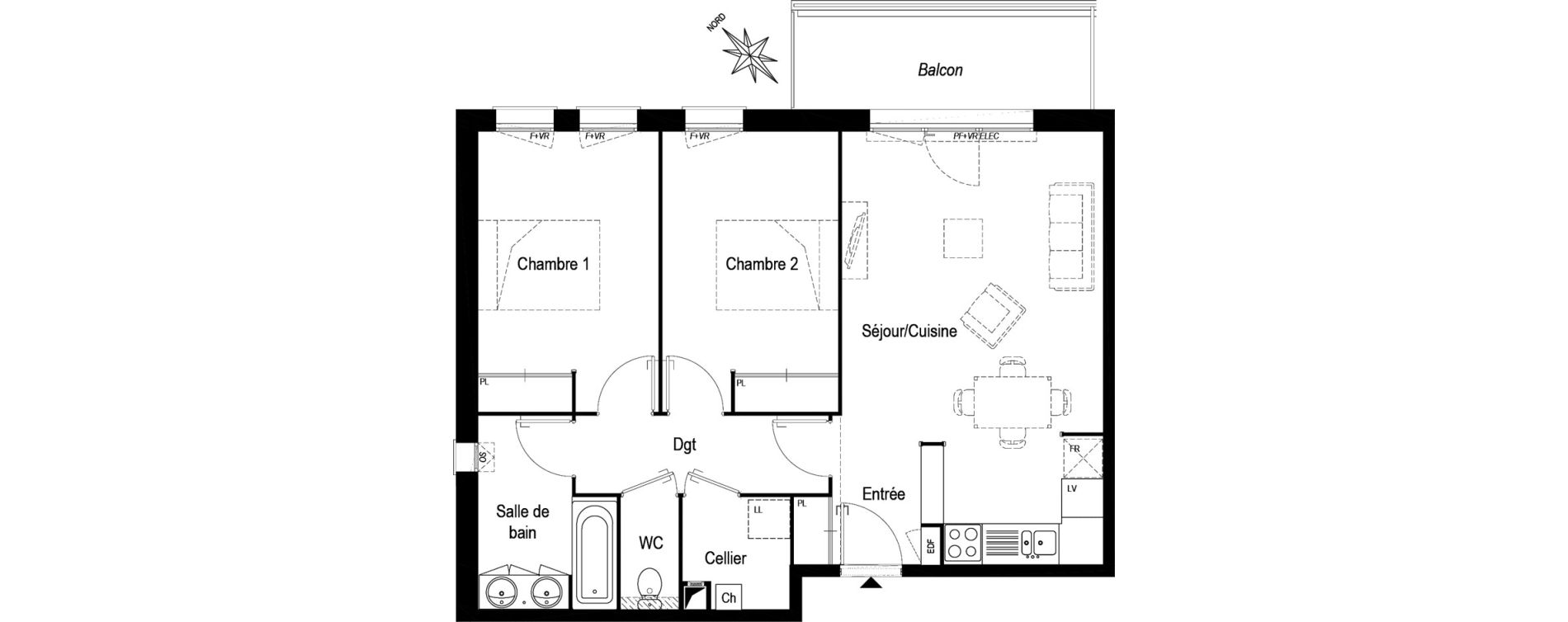 Appartement T3 de 67,55 m2 à Biganos Centre