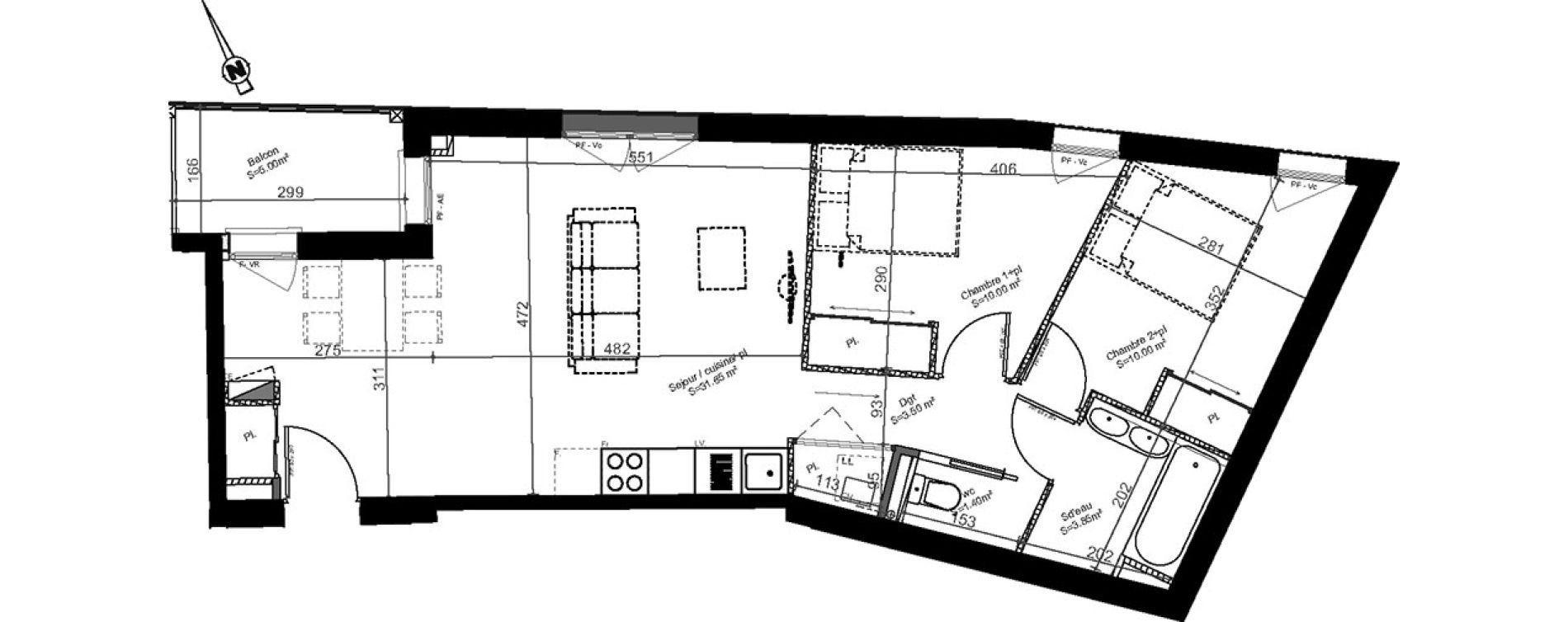 Appartement T3 de 60,40 m2 à Biganos Centre