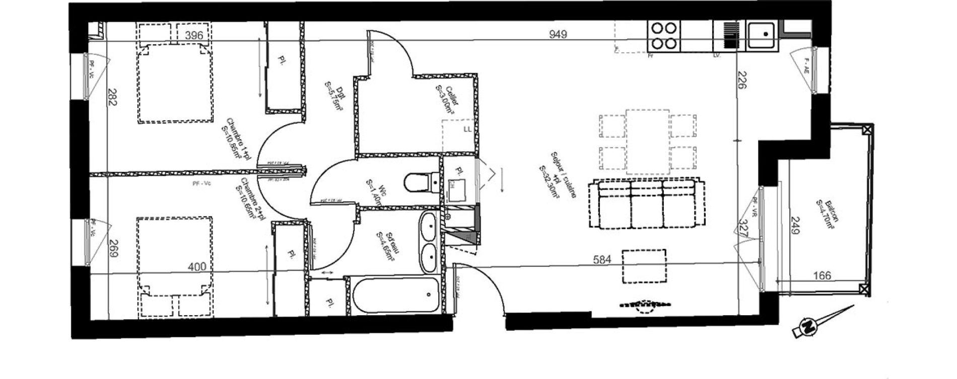 Appartement T3 de 68,60 m2 à Biganos Centre