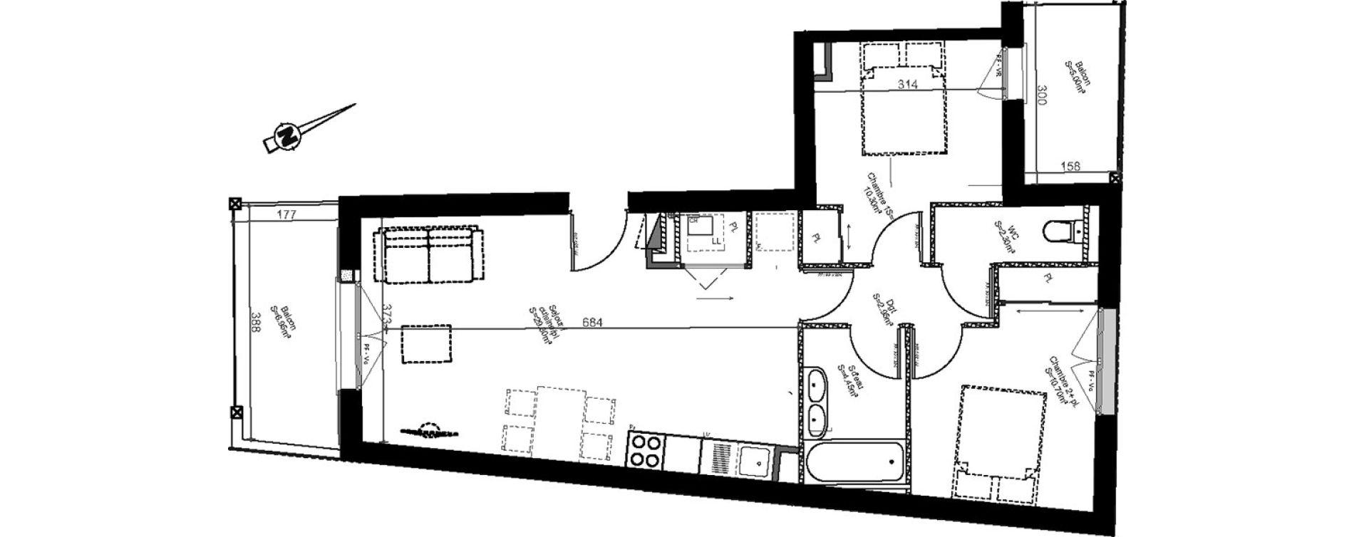 Appartement T3 de 60,00 m2 à Biganos Centre