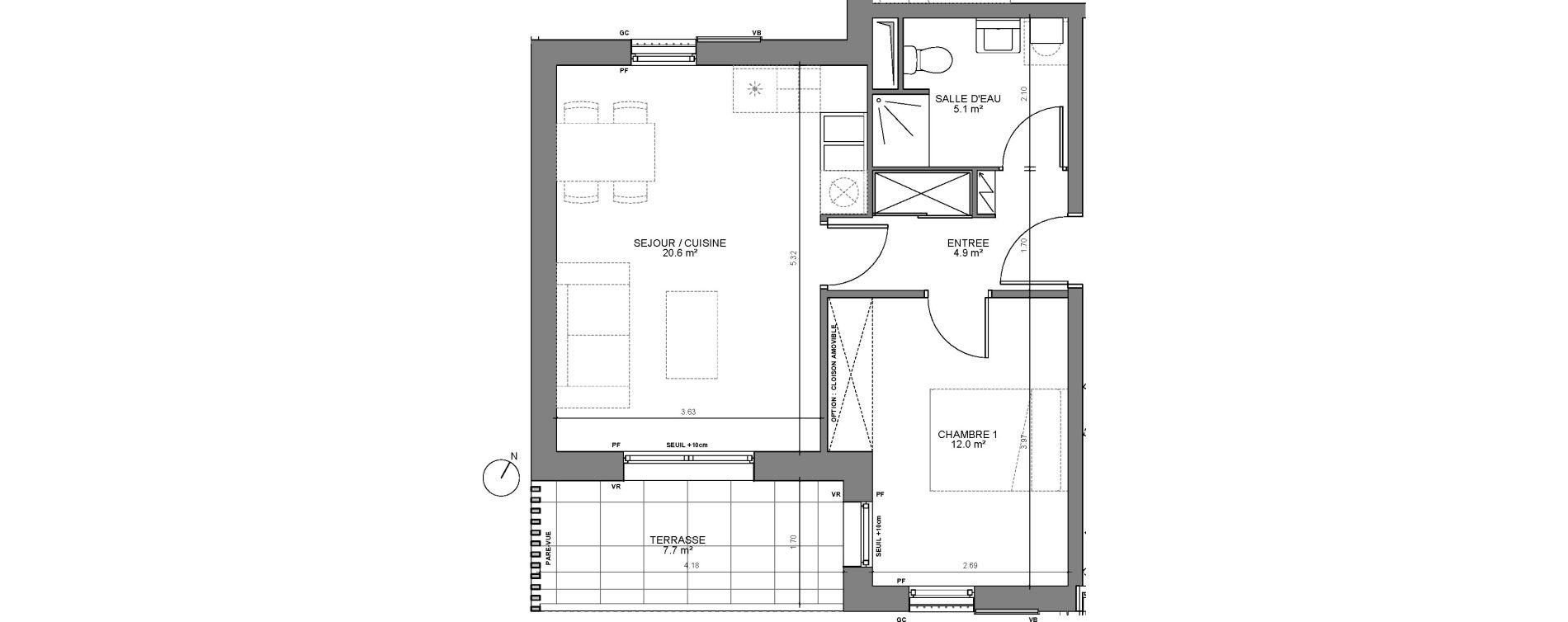 Appartement T2 de 42,60 m2 à Biganos Centre