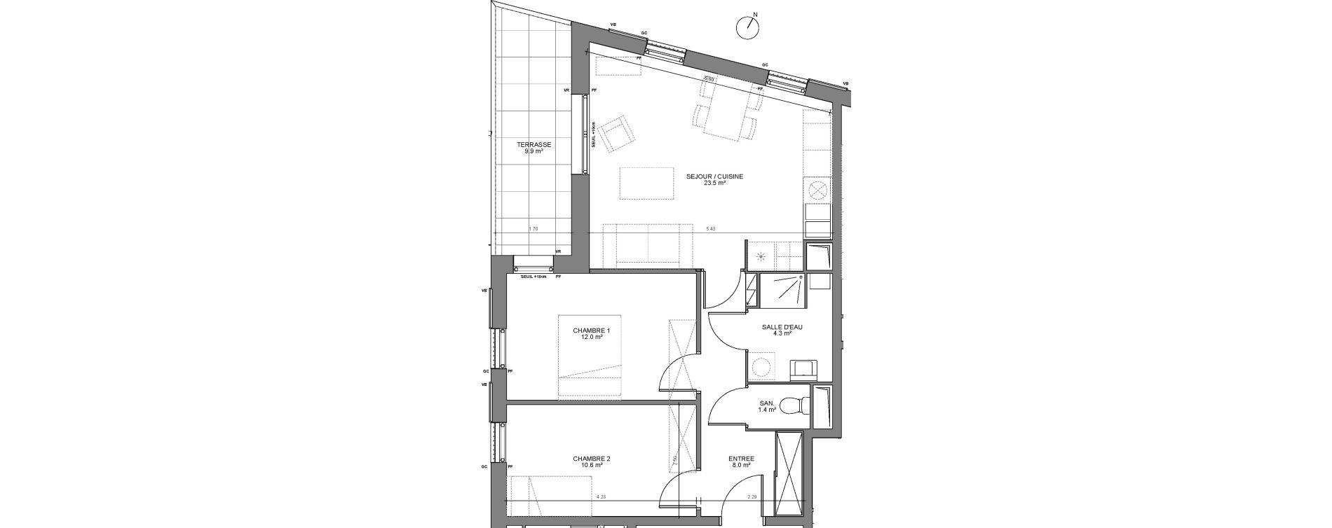 Appartement T3 de 59,80 m2 à Biganos Centre