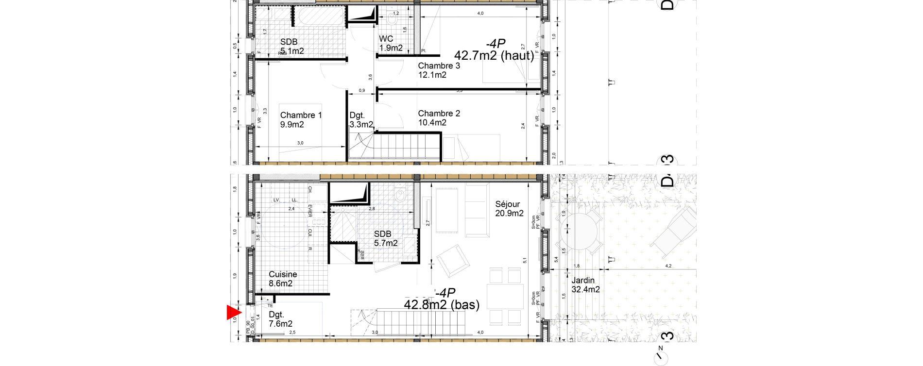 Duplex T4 de 86,80 m2 à Biganos Centre