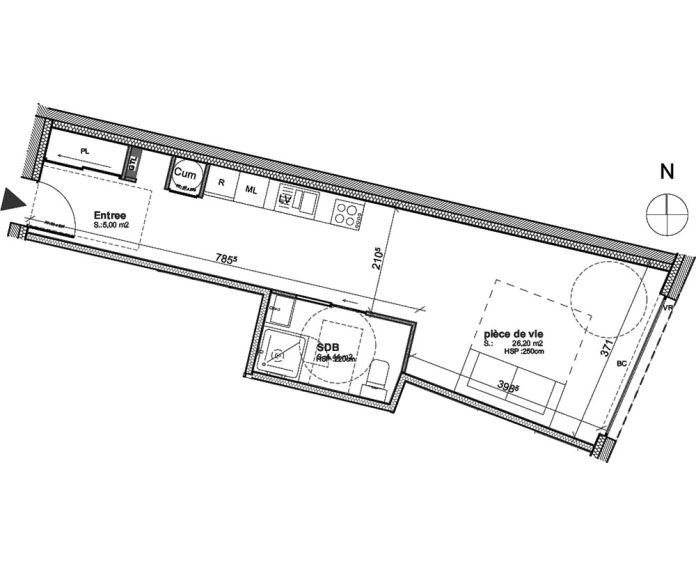 Plan T1 neuf à Bordeaux de