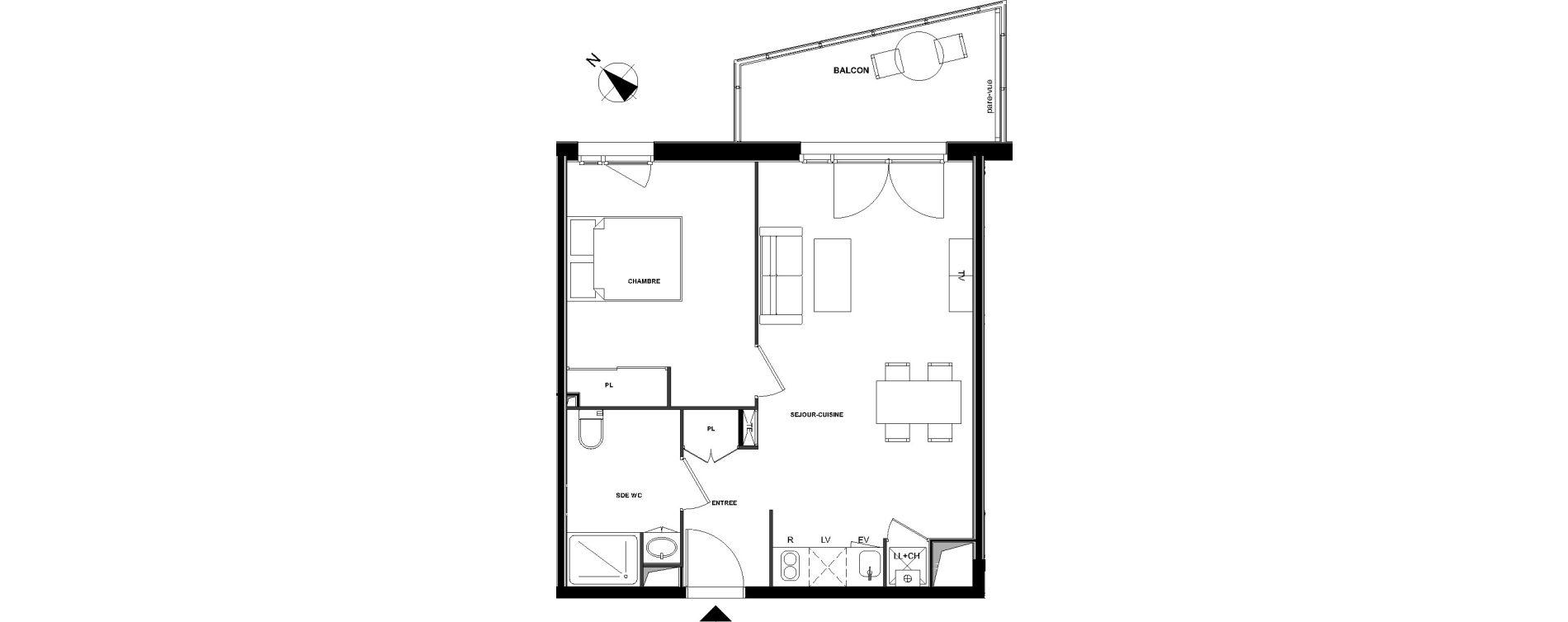 Appartement T2 de 44,96 m2 à Bruges Centre
