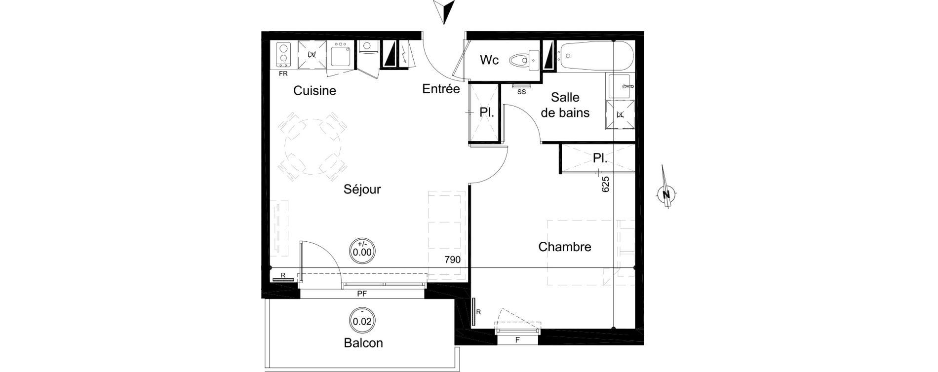 Appartement T2 de 43,80 m2 à Carignan-De-Bordeaux Centre