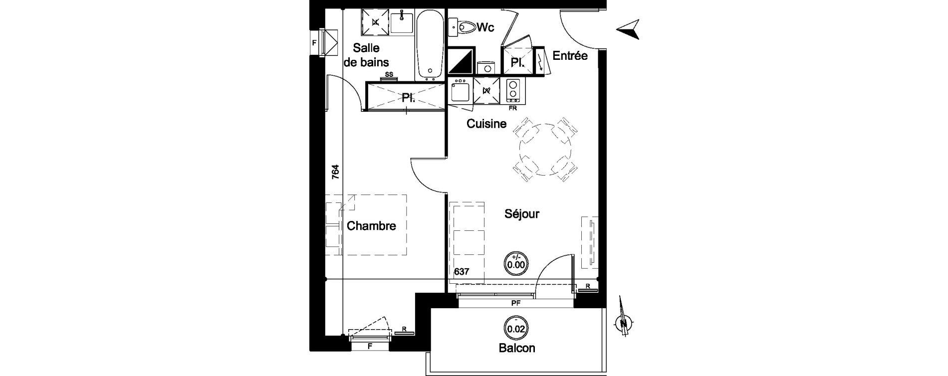 Appartement T2 de 43,10 m2 à Carignan-De-Bordeaux Centre