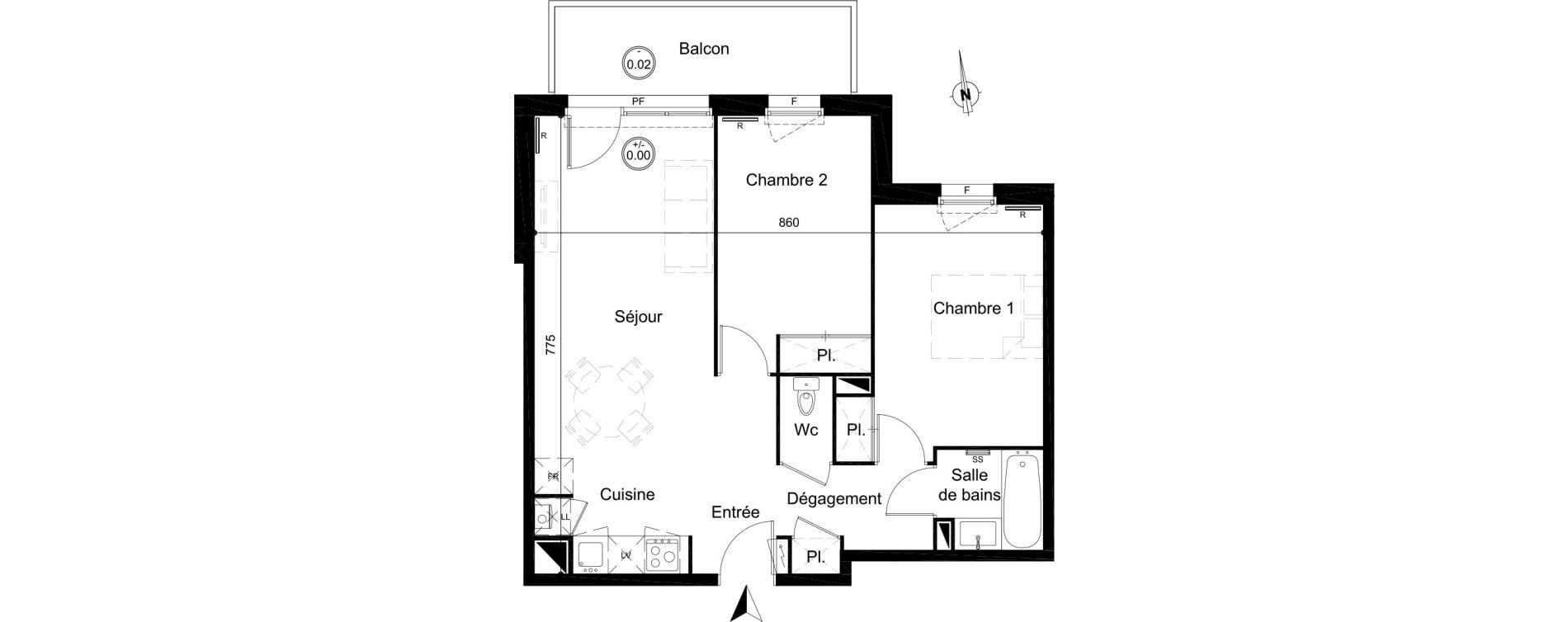 Appartement T3 de 58,90 m2 à Carignan-De-Bordeaux Centre