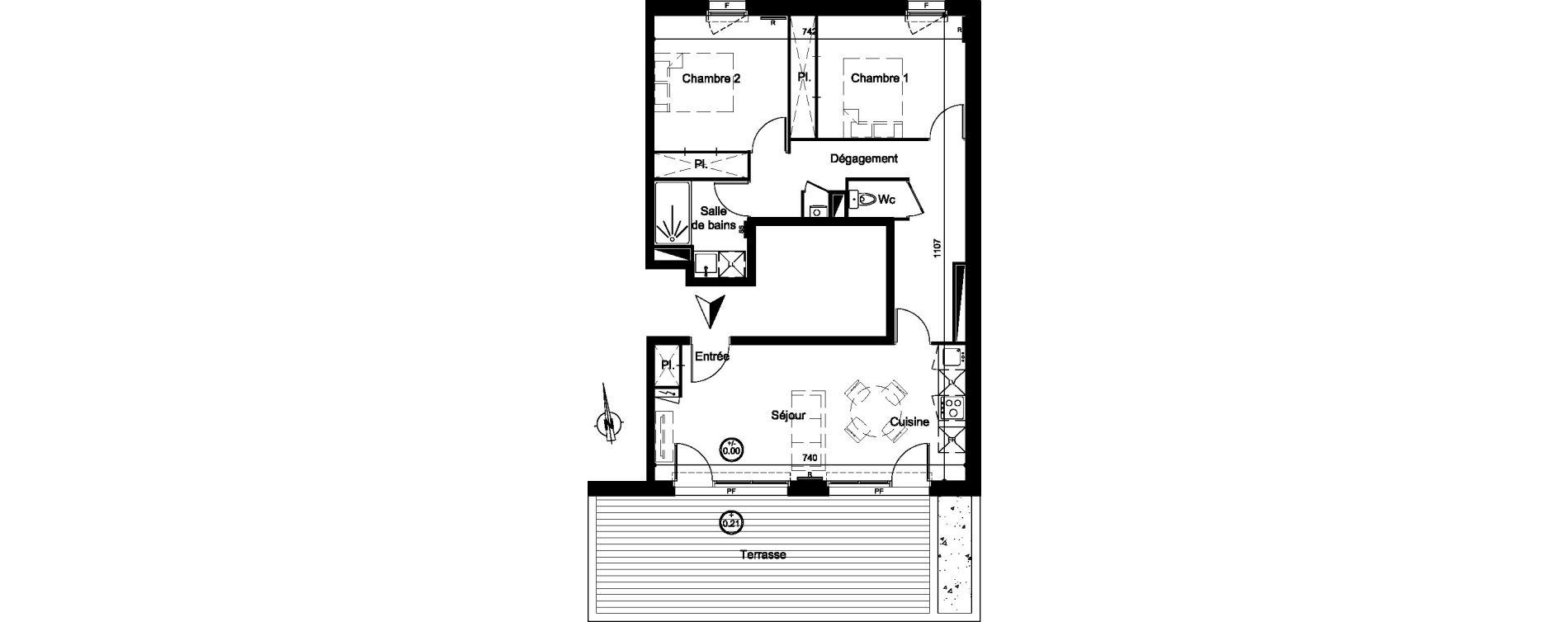 Appartement T3 de 65,50 m2 à Carignan-De-Bordeaux Centre