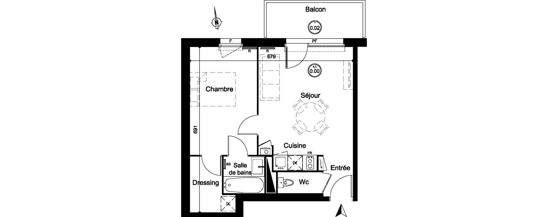 Appartement T2 de 41,70 m2 à Carignan-De-Bordeaux Centre