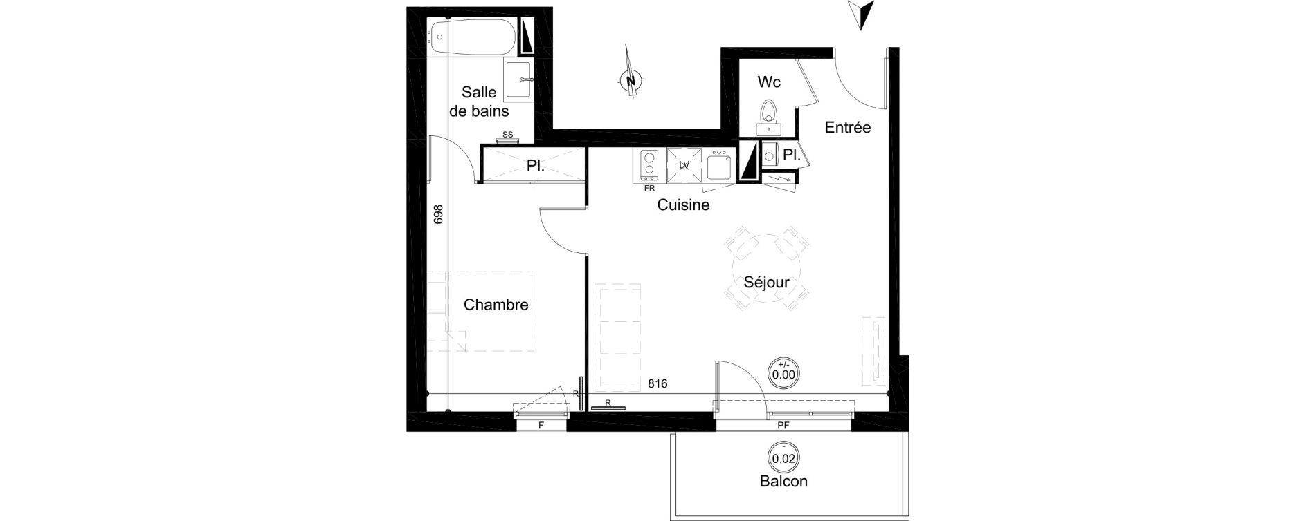 Appartement T2 de 45,60 m2 à Carignan-De-Bordeaux Centre