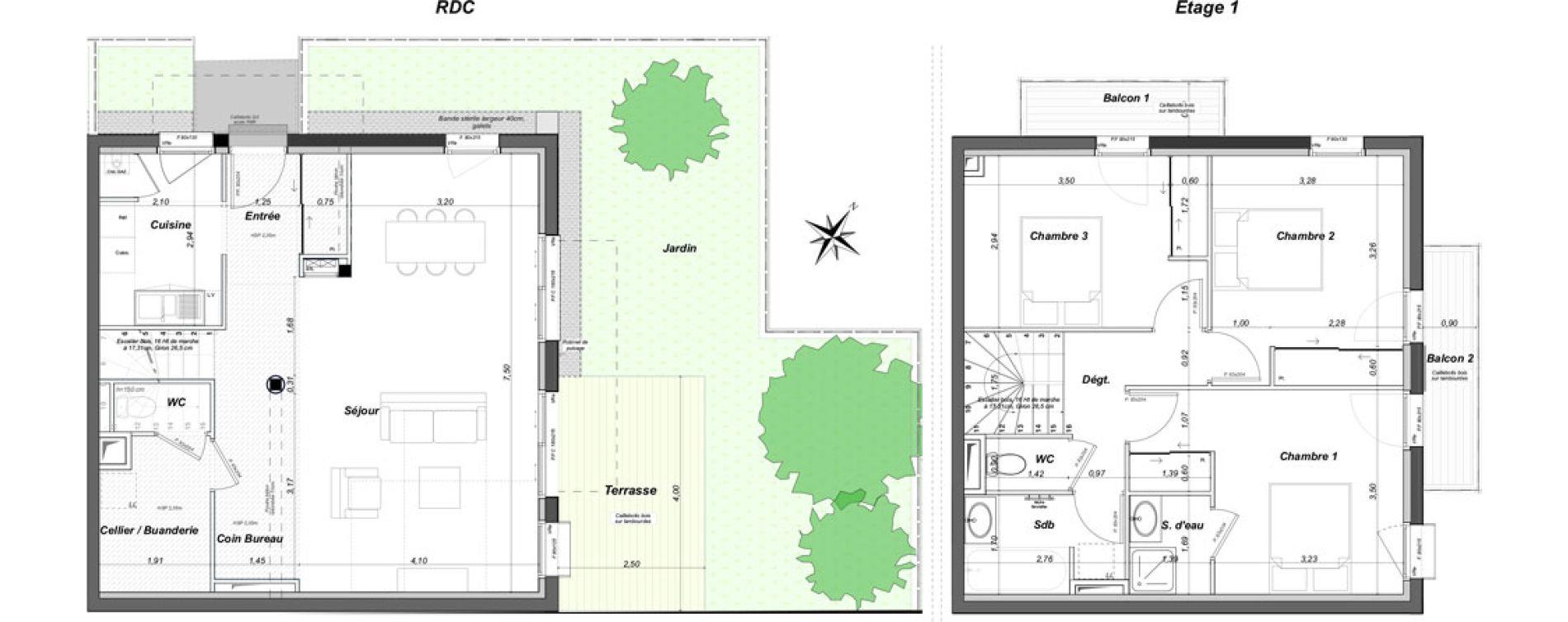 Maison T4 de 102,76 m2 au Bouscat Coeur de ville