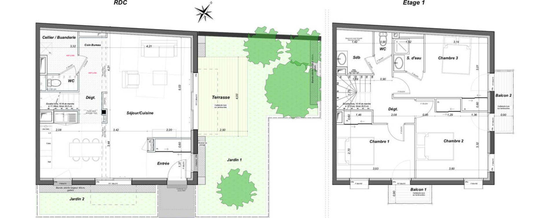 Maison T4 de 99,91 m2 au Bouscat Coeur de ville