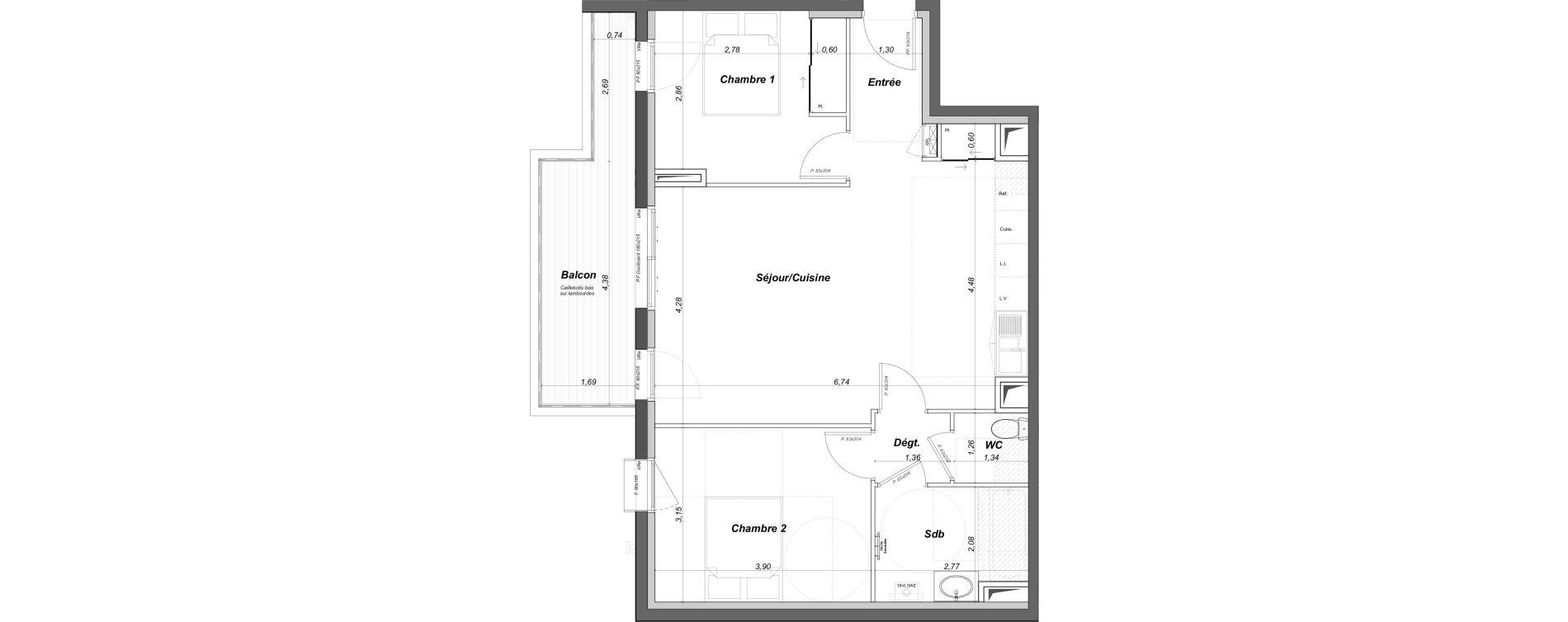 Appartement T3 de 64,71 m2 au Bouscat Coeur de ville
