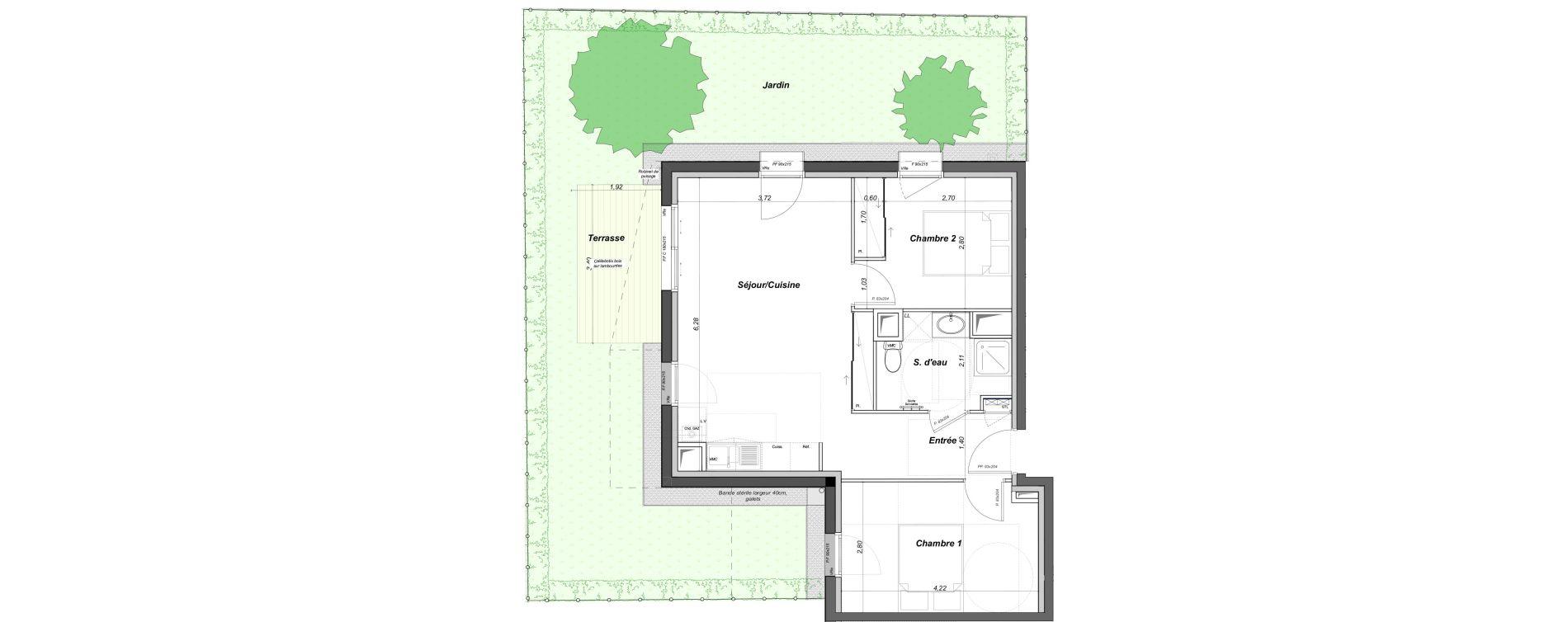Appartement T3 de 54,77 m2 au Bouscat Coeur de ville
