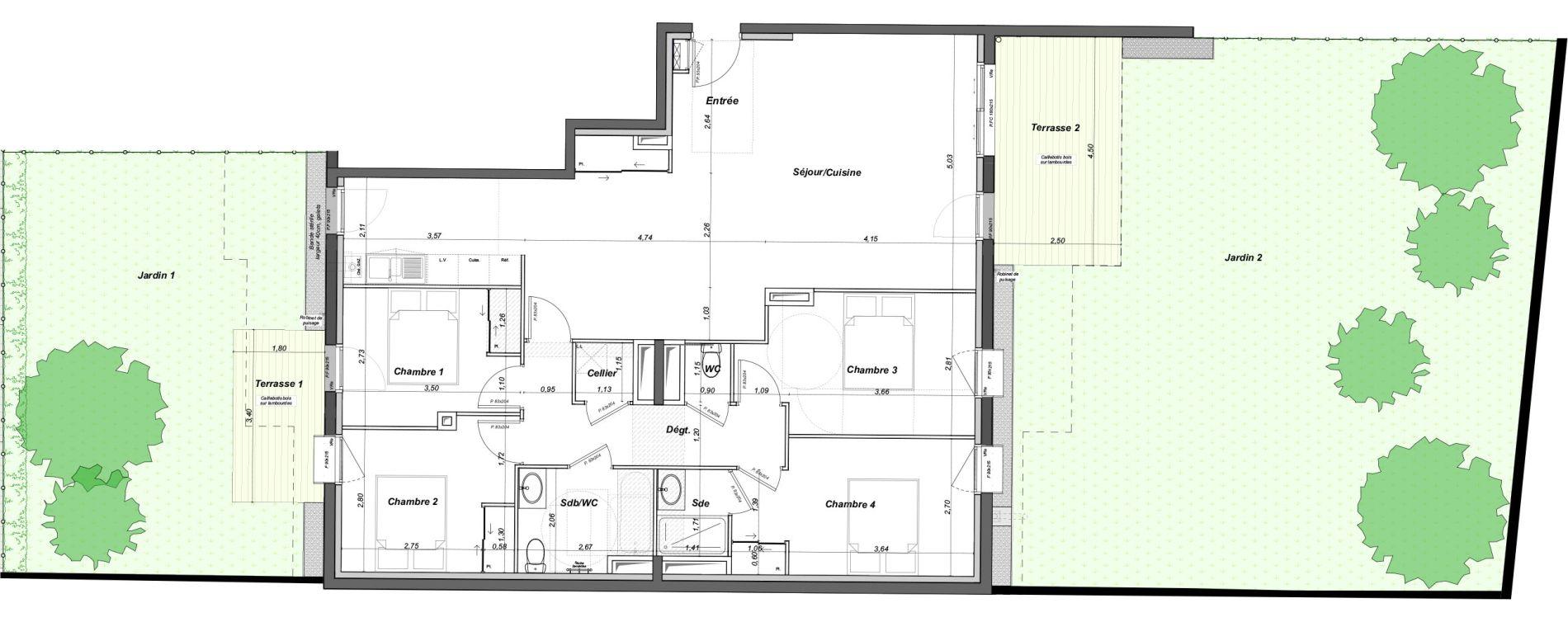 Appartement T5 de 109,63 m2 au Bouscat Coeur de ville