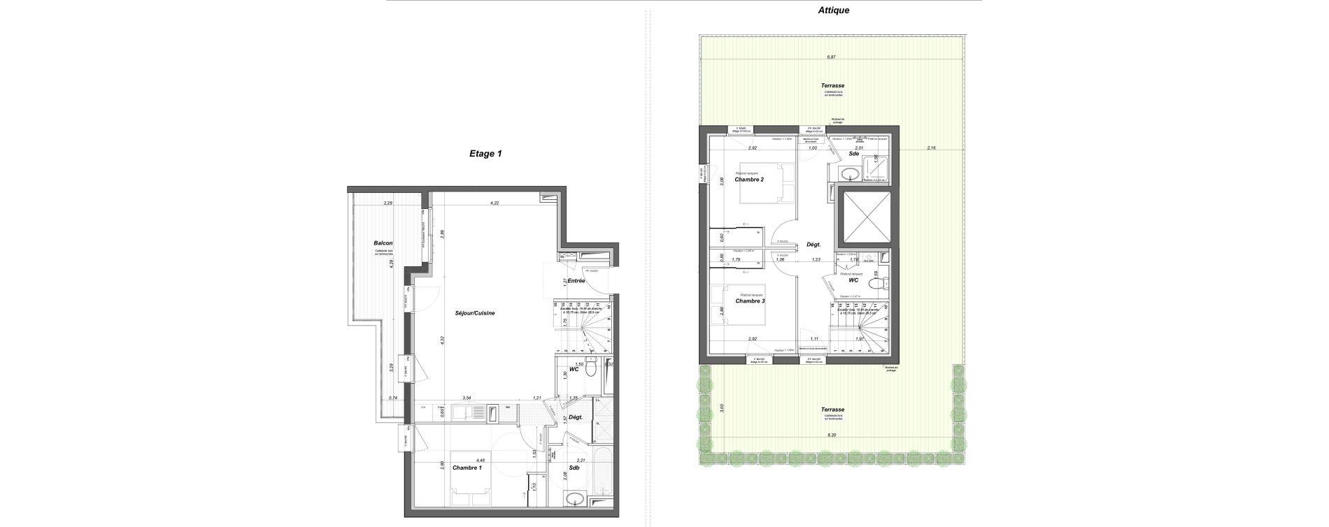 Duplex T4 de 95,58 m2 au Bouscat Coeur de ville