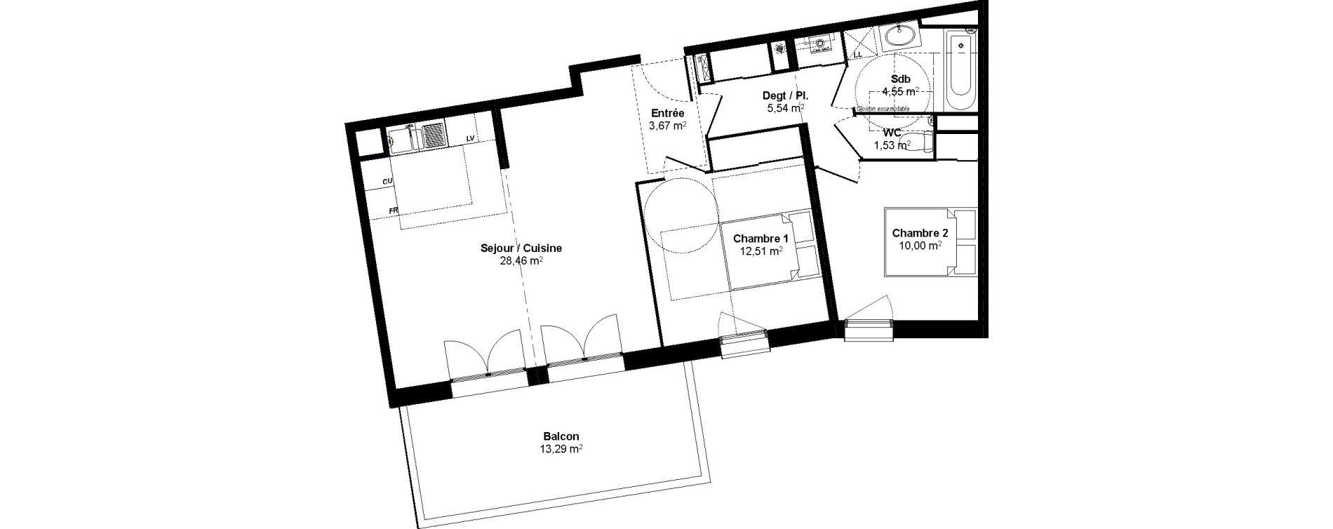 Appartement T3 de 66,26 m2 au Bouscat Coeur de ville