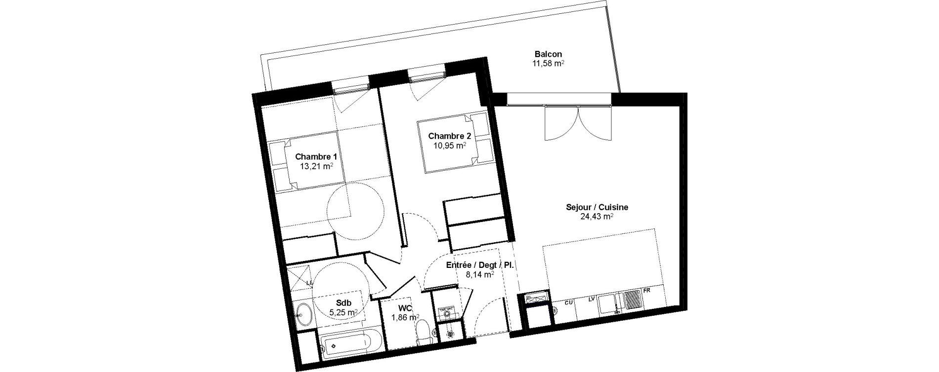 Appartement T3 de 63,84 m2 au Bouscat Coeur de ville