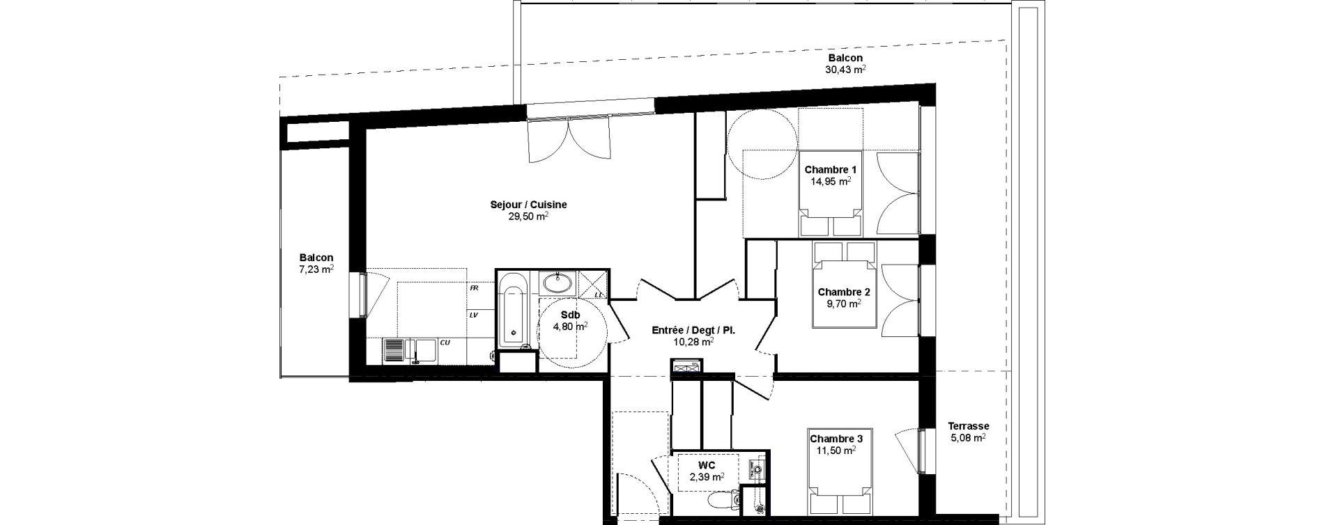 Appartement T4 de 83,12 m2 au Bouscat Coeur de ville